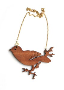 Image of wooden bird necklace