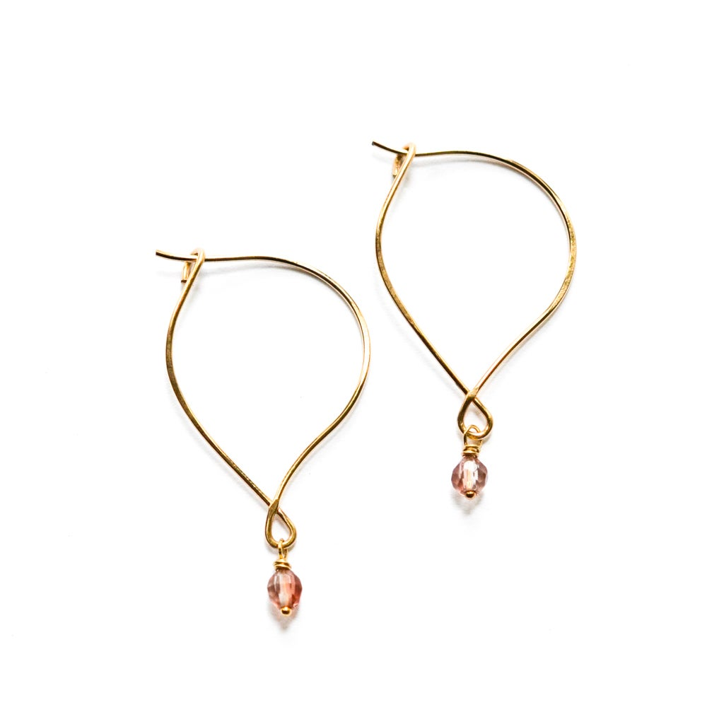 Image of Oregon sunstone hoop earrings