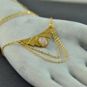 Image of Hera - Geometric Fire Opal Drape Necklace