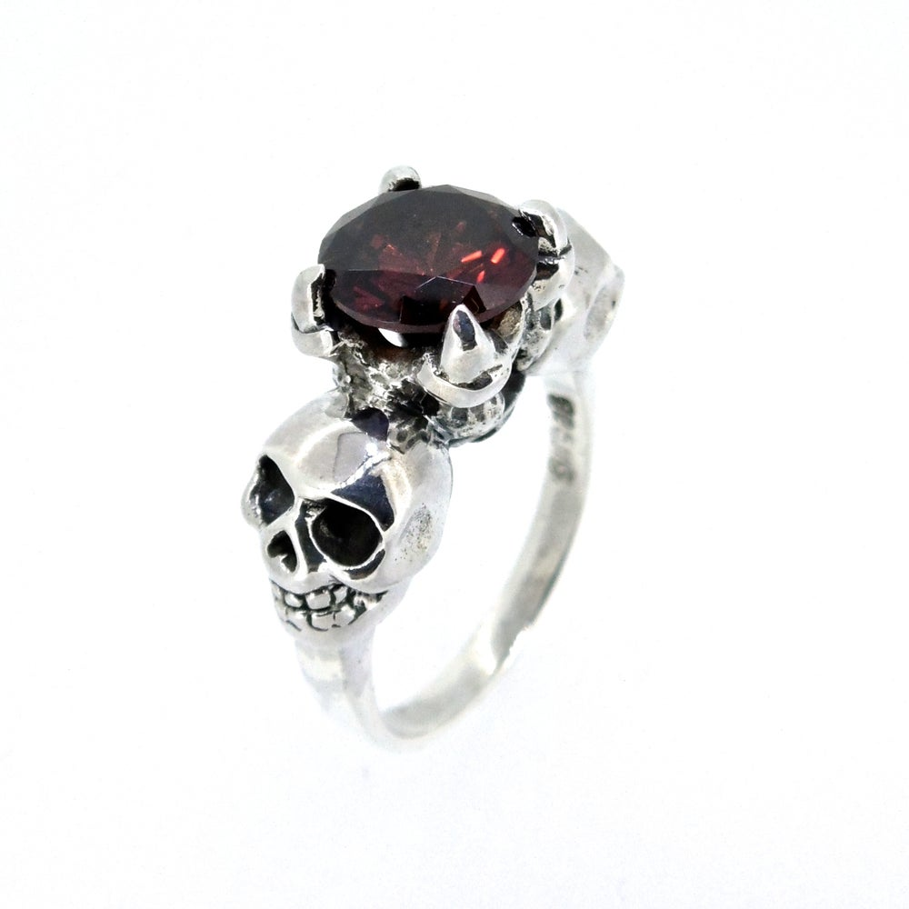 Image of Sterling Silver & Garnet 'Till Death' Ring