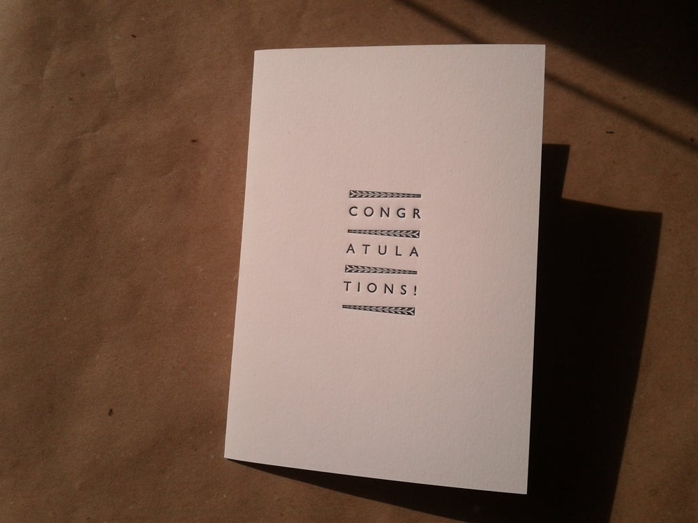 Image of Letterpress Congratulations Greetings Card (A6)