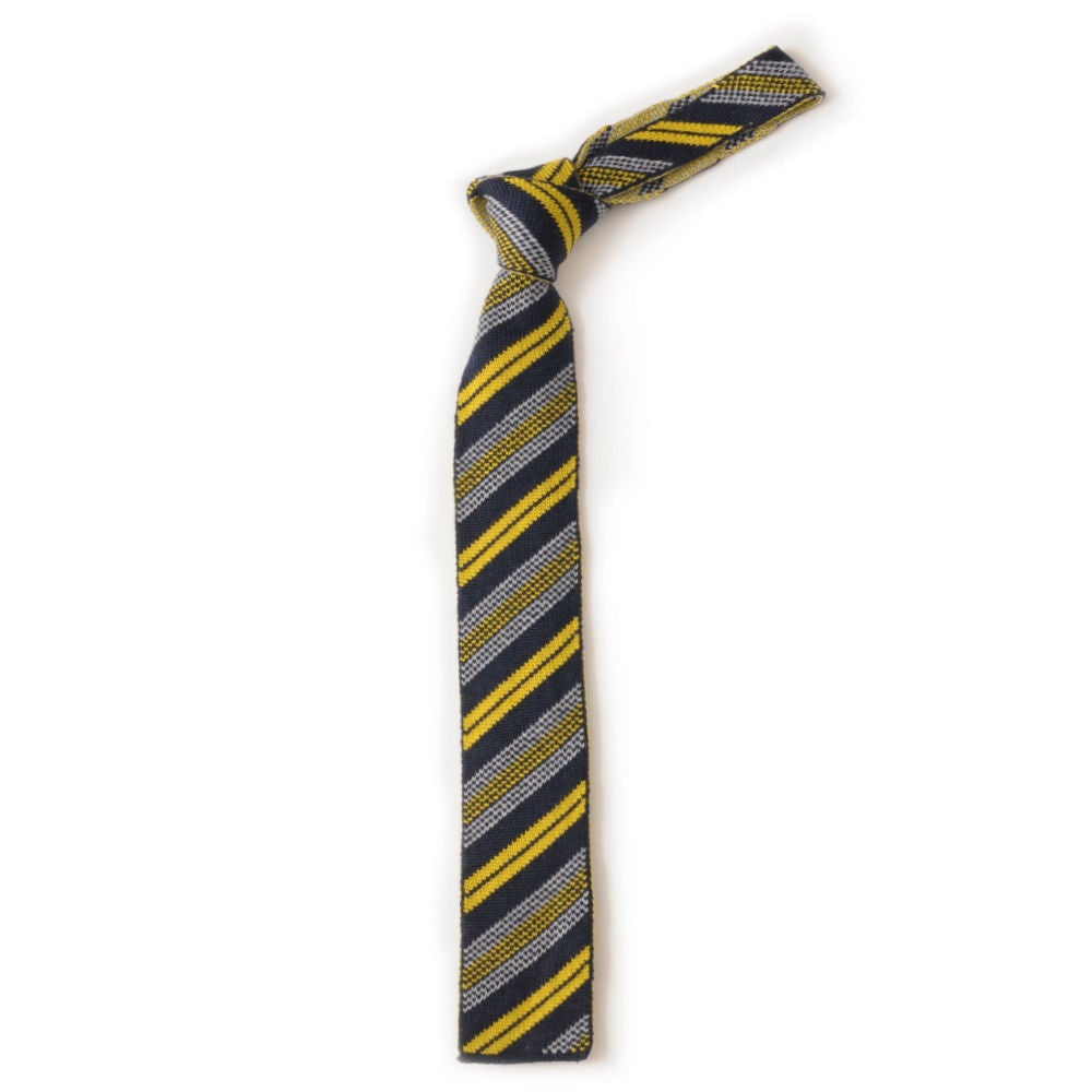 Image of Regimental Stripe Tie in Navy and Mustard
