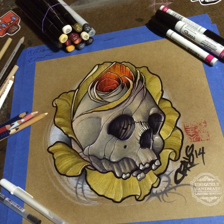 Image of Gold Skull/Rose
