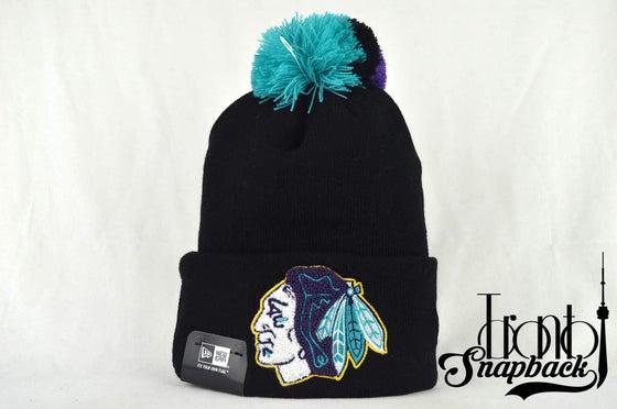 Image of CHICAGO BLACKHAWKS NHL AQUA HOOK KNIT NEW ERA BEANIE