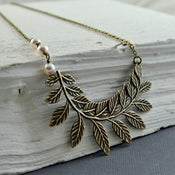 Image of Ariana - Asymmetrical Bronze Beaded Woodland Curved Branch Necklace