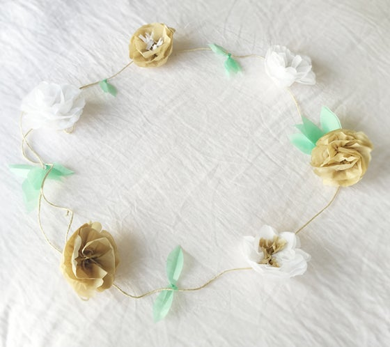 Image of Paper flower garland - neutrals