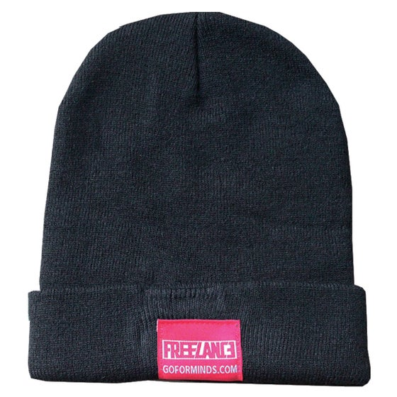 Image of LONG BEANIE WITH CUSTOM LEATHER AND WOVEN TAGS