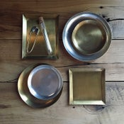 Image of Brass and silver-plated tool trays