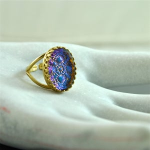 Image of Iris - Gold Iridescent Cabochon Ring