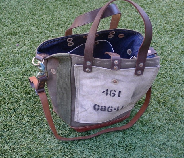 Image of VINTAGE MILITARY CANVAS AND LEATHER BUCKET TOTE BAG #2