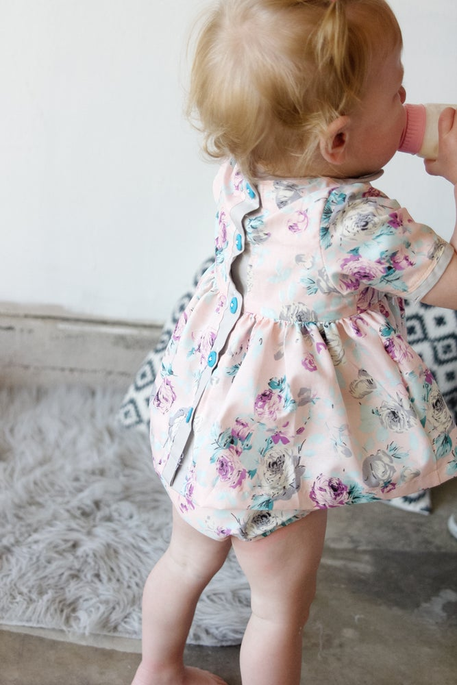 Image of INFANT - Gold Collar Girl Dress/Top + Button Bloomers