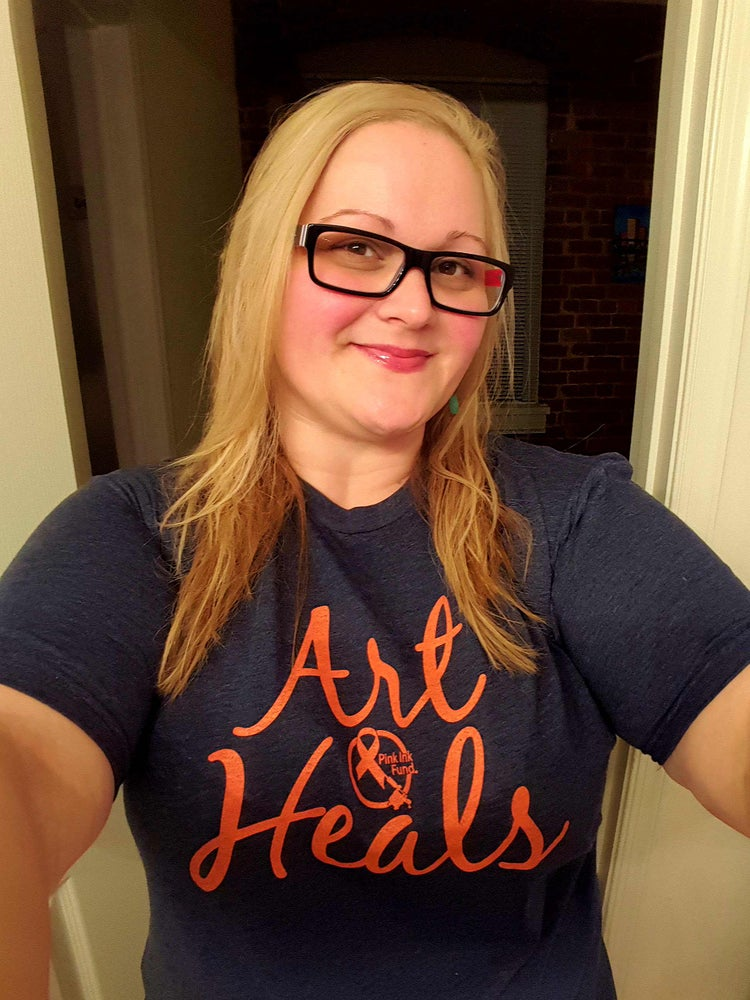 """Image of Pink Ink Fund""""Art Heals"""" 2 sided T shirt"""
