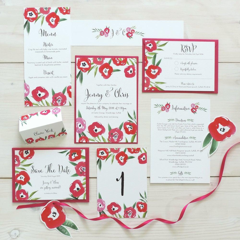 Image of Passion Bloom Bespoke Wedding Invitation and RSVP Personalised Bundle