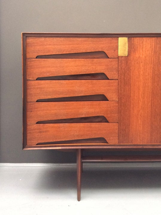 Image of Italian Teak Sideboard with Brass Details