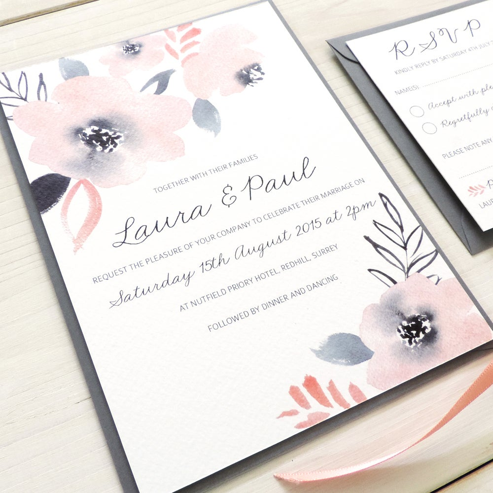 Image of Sweet Posey Wedding Invitation and RSVP with Personalised Belly Band