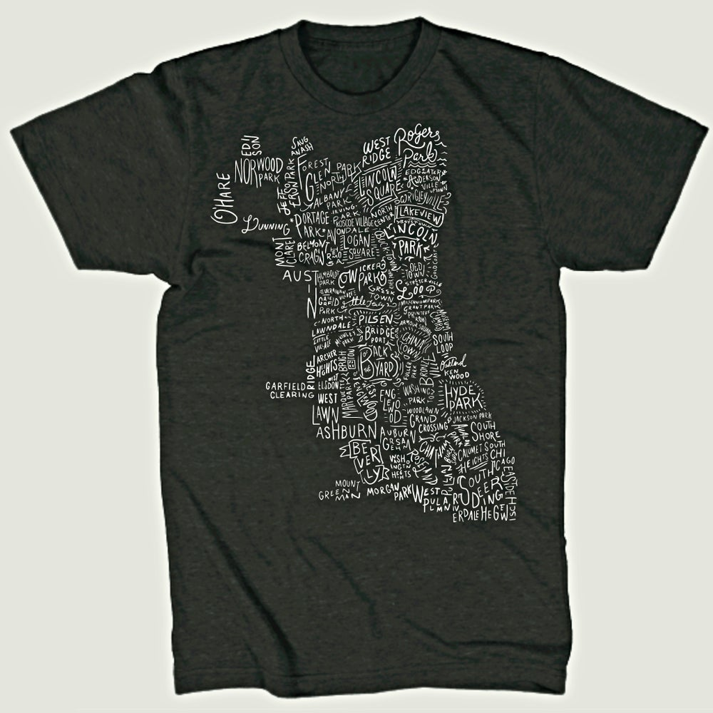 Image of Chicago Neighborhoods Map T-Shirt