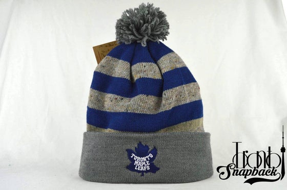 Image of TORONTO MAPLE LEAFS STRIPE RETRO LOGO NHL MITCHELL & NESS BEANIE