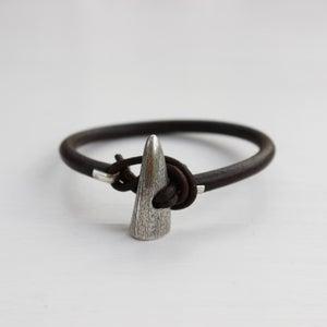 Image of men's silver toggle bracelet, dark brown
