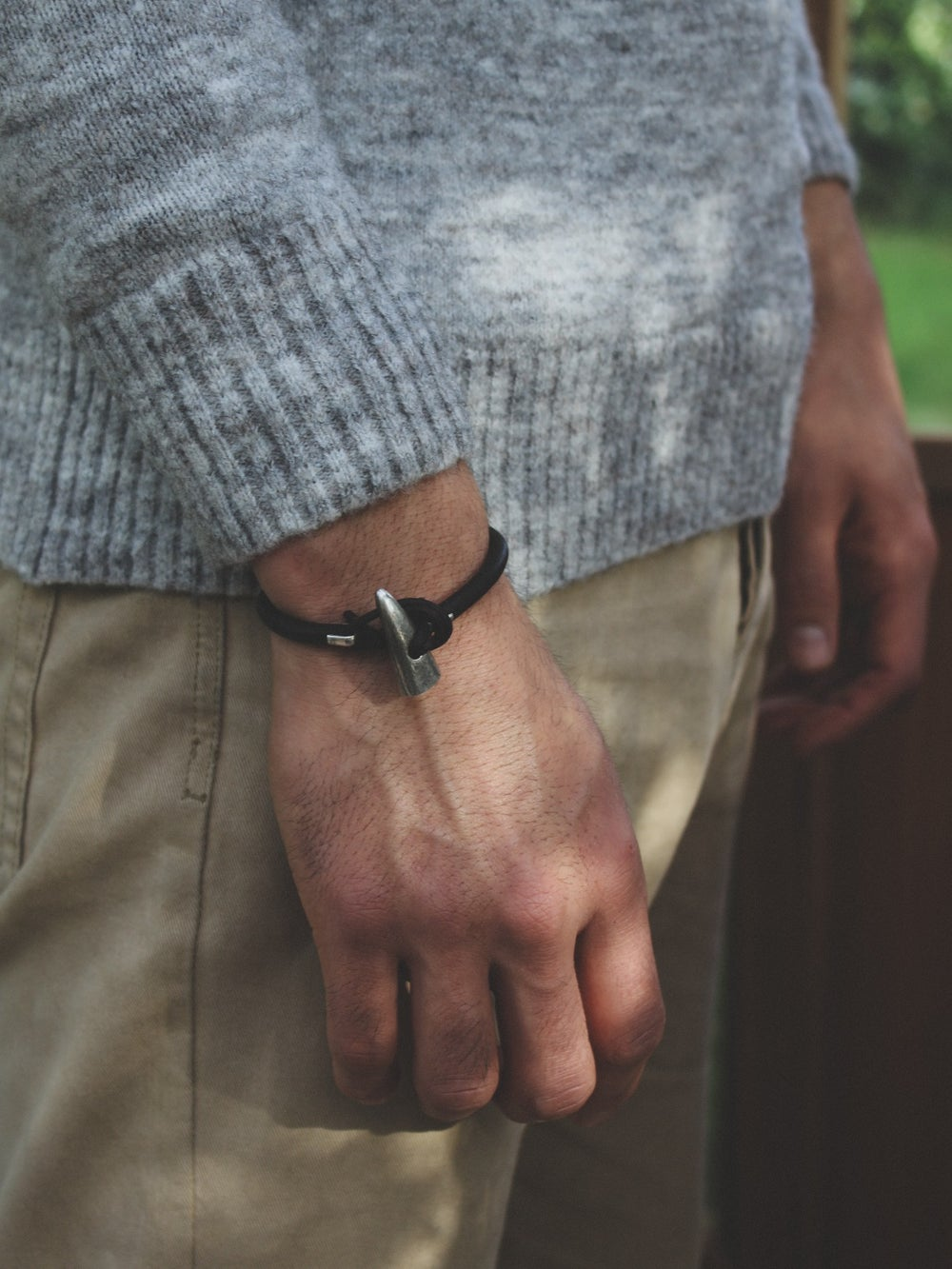 Image of men's silver toggle bracelet, dark brown