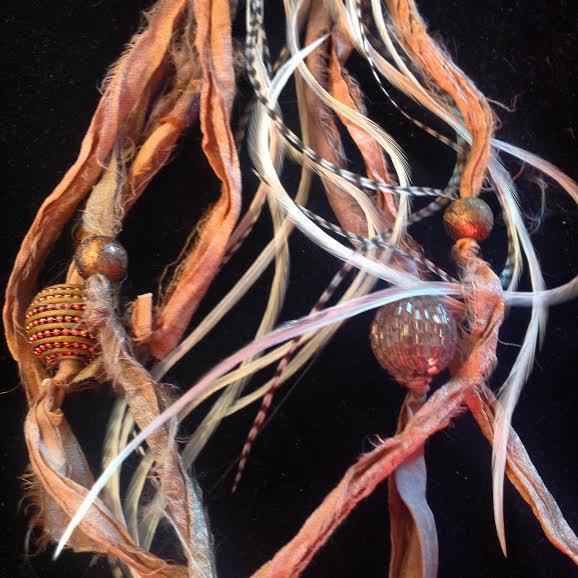 Image of Fairy~ Heart Chakra, Abalone Shell, Zebra Jasper, Swarovski Crystal, Feathers and Hand Dyed Silk