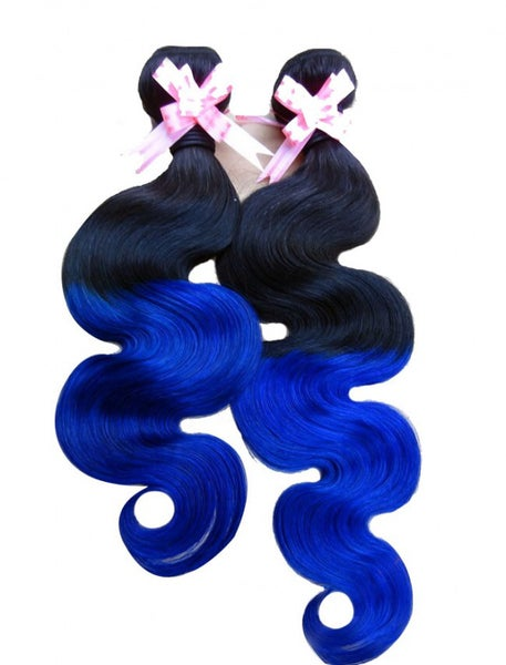 Image of Ombre' 1B/Blue or 1B/Green Body Wave - 8A