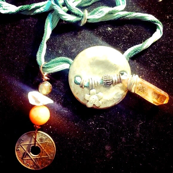 Image of  Hand Dyed Silk, AB Tangerine Quartz, Star of David Coin, Agate, Aura Angel, Smoky Quartz