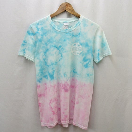 Image of Pastel blue/pink dip dye pattern t-shirt