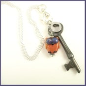 "Image of ""Owl"" Skeleton Key Charm Necklace"