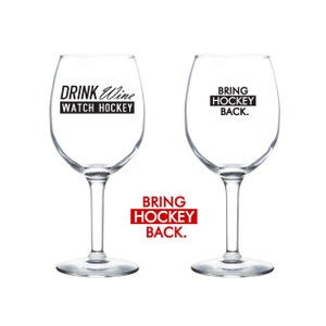 Image of 11oz Drink Wine Watch Hockey Wine Glass [Shipping Included]