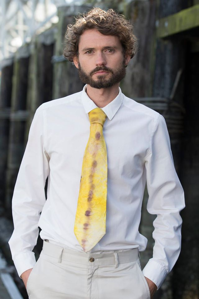 Image of Men's Neck Tie Yellow/Purple