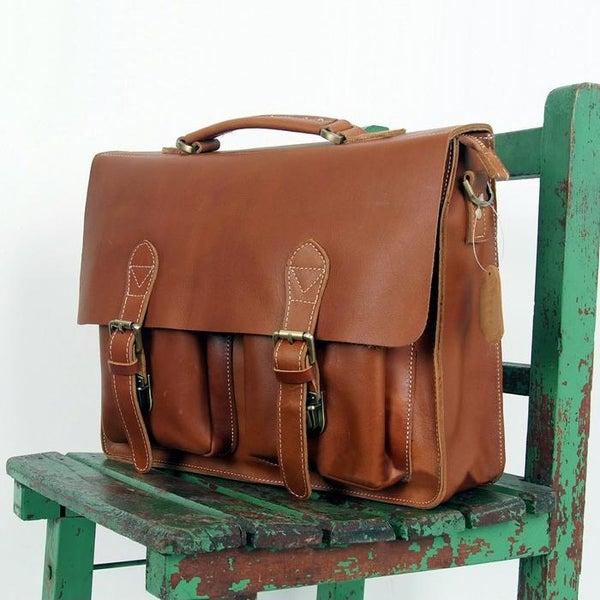 "Image of Handmade Antique Leather Briefcase / Messenger / 14"" 15"" Laptop 13"" 15"" MacBook Bag (n67-6)"