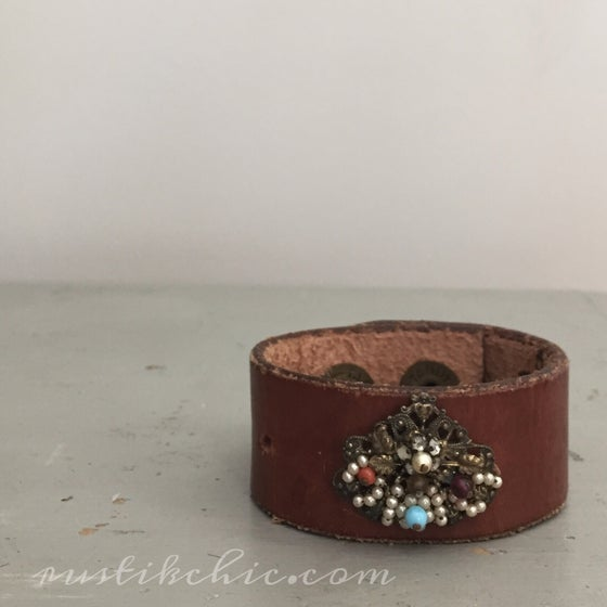 Image of Beaded Antique Brooch Vintage Leather Cuff