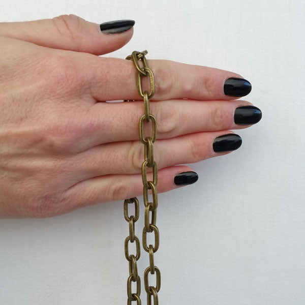 "Image of ANTIQUE BRASS Chain Strap - Elongated Box Chain - 5/16"" (8mm) Wide - Handle to Crossbody Lengths"