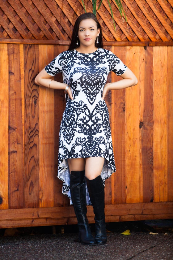 Image of Black and White Paisley Dress
