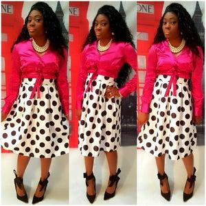 Image of Black white polka dot skirt