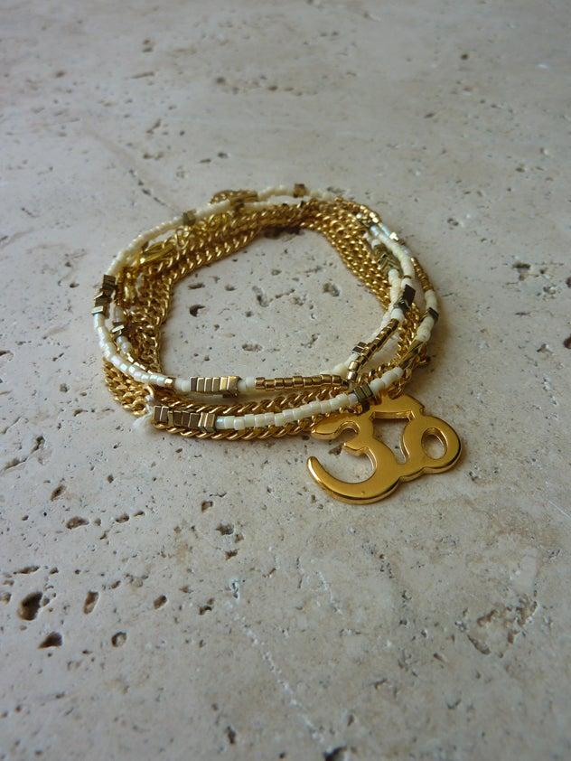 Image of Bracelet rocailles JAIPUR Ivoire -30%