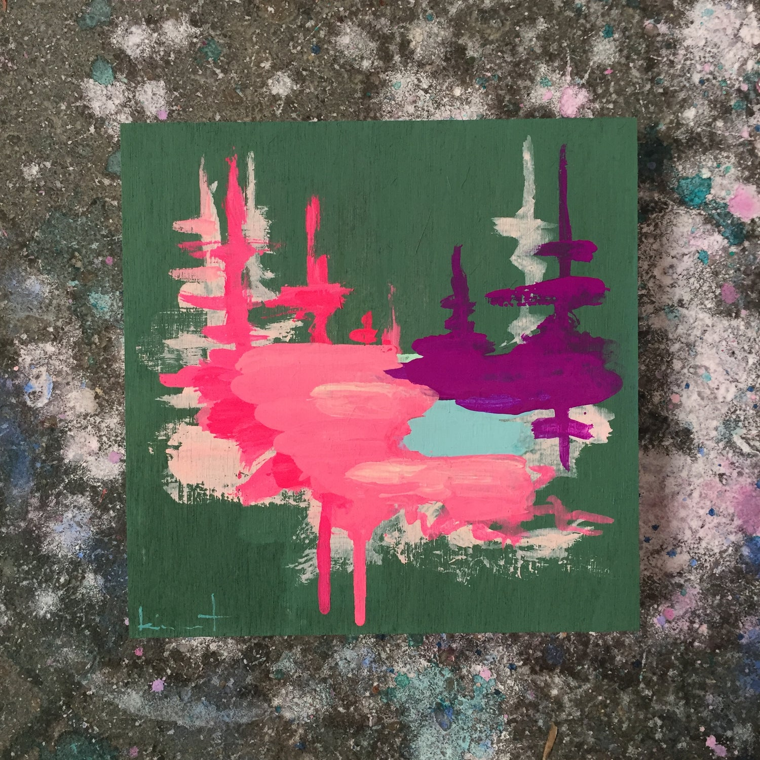 Image of tiny painting no. 34 (pine, opera, violet)