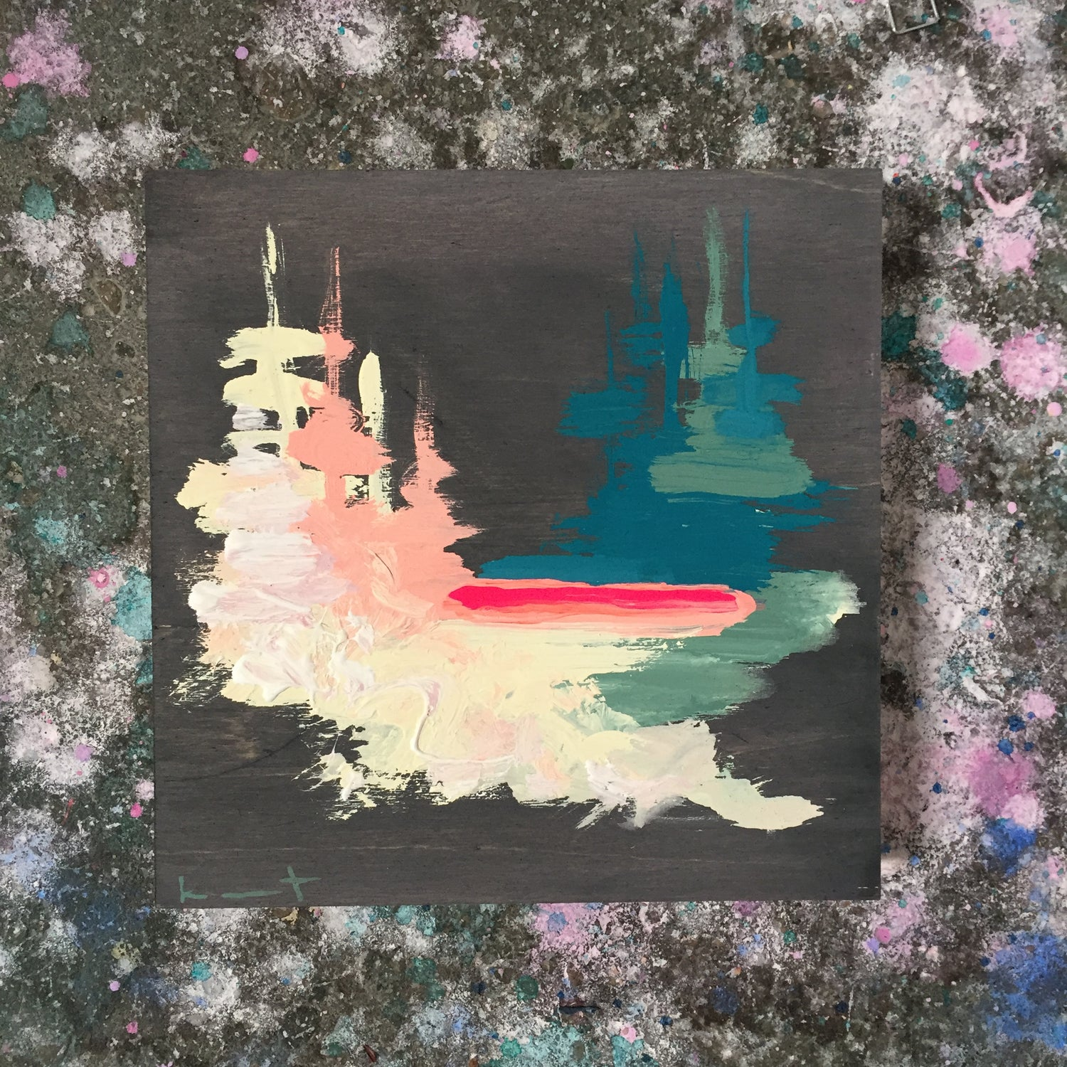 Image of tiny painting no. 40 (fog black, peacock, opera, parchment)