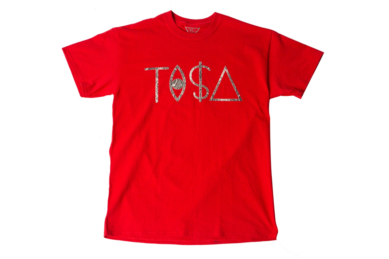 Image of TI$A SNAKESKIN LOGO RED T-SHIRT