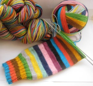 Image of **knotted skeins** Nimbus sock yarn in MIND THE GAP