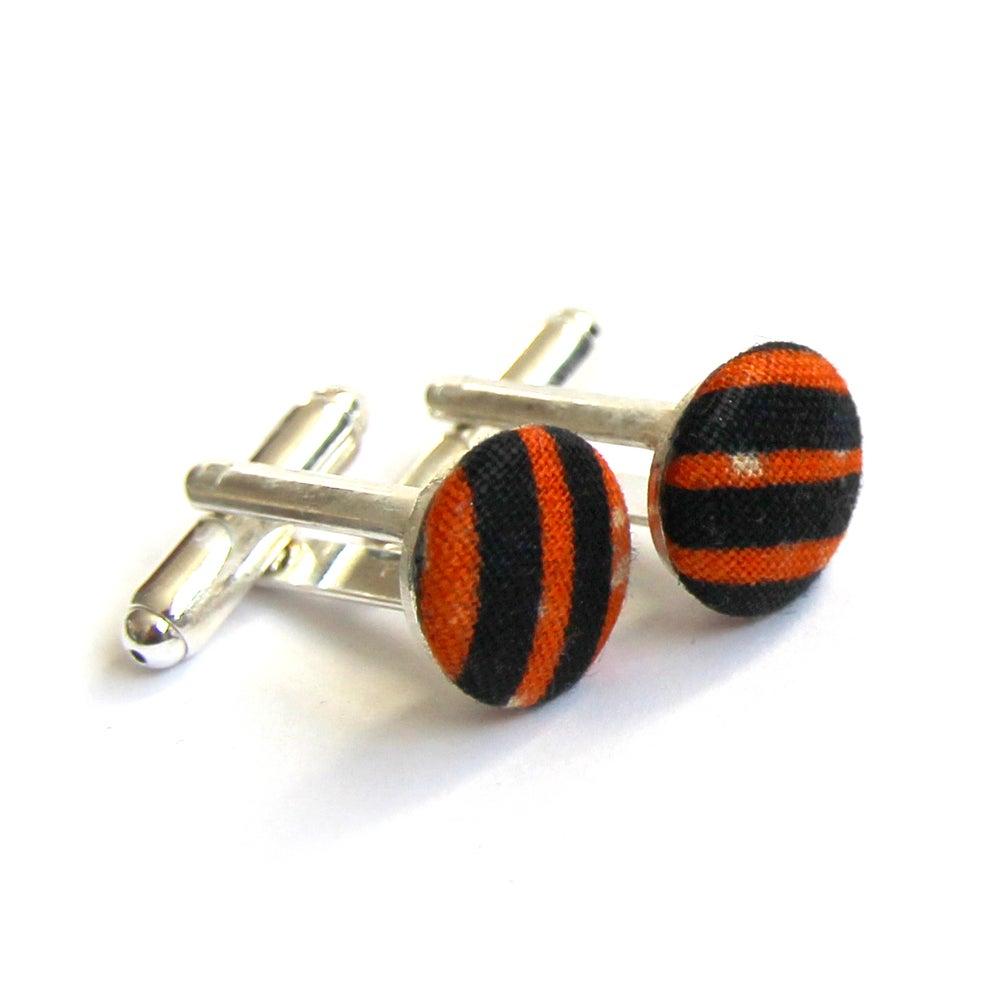 Image of Gift boxed orange and navy stripe wax print fabric cufflinks