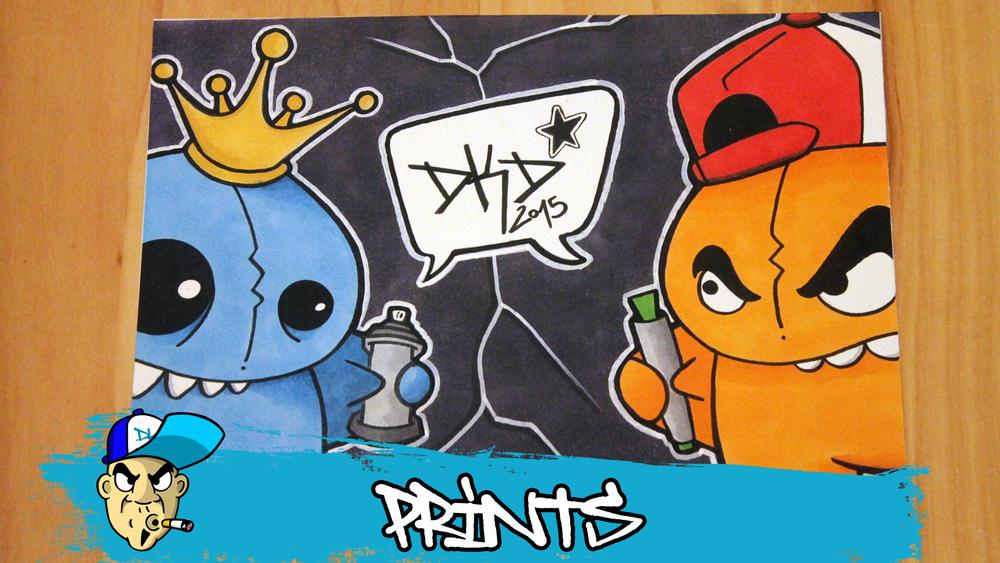 Image of DKD Graffiti Character Print Pencil & Spraycan