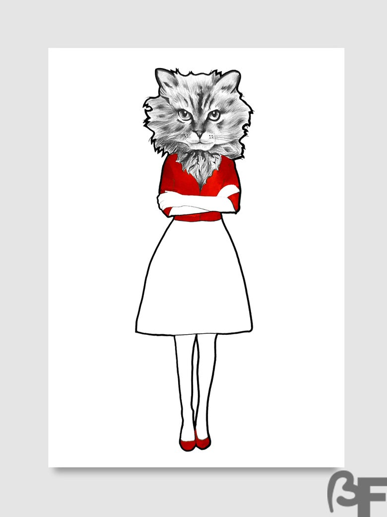 "Image of Lámina - ilustración Gata serie ""Doble animal"" / Sheet - Illustration Cat ""Double animal"""