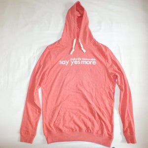 Image of Women's Mid Heather Red 'Say Yes More' Hoodie