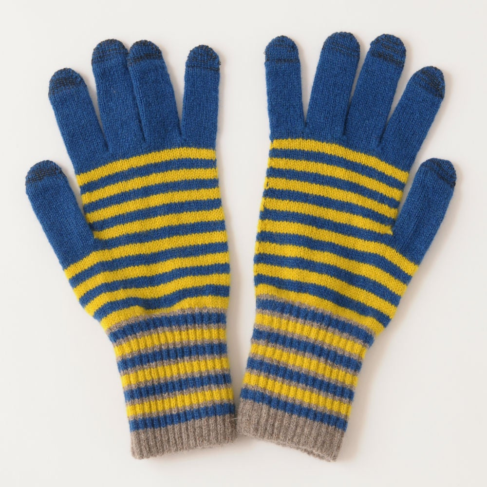 Image of Stripe Gloves (large) in Blue x Yellow