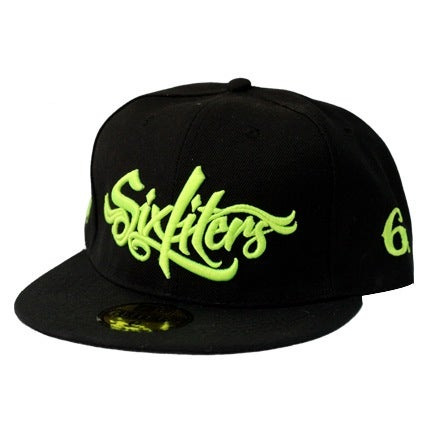 Image of Six Script Snapback (Black/Fl. Green)