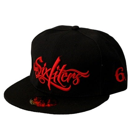 Image of Six Script Snapback (Black/Red)