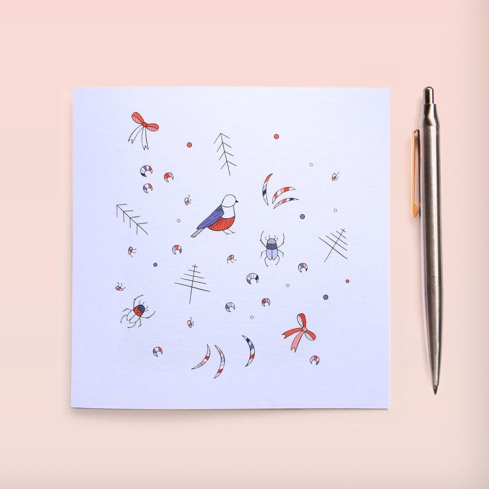 Image of Beautiful beetles & pretty birds Individual Greeting Card