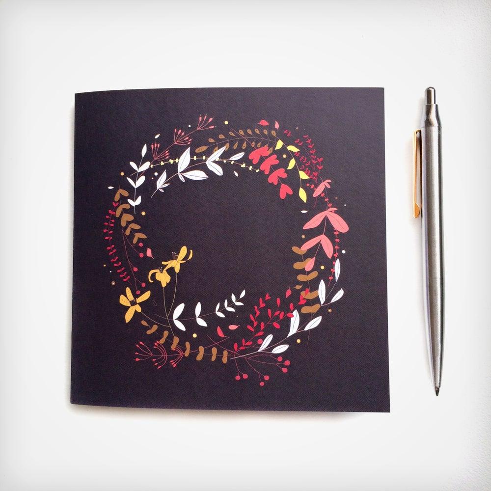 Image of Elegant Christmas Wreath Individual Greeting Card