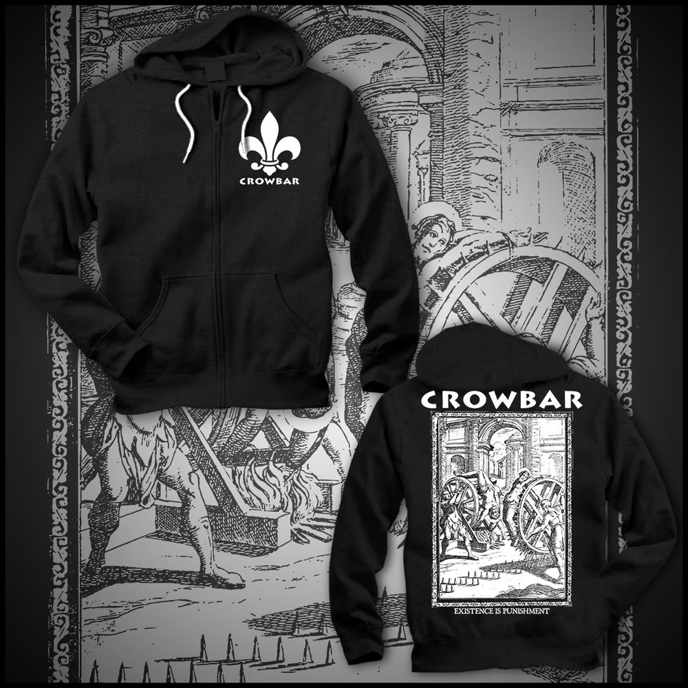"Image of CROWBAR ""EXISTENCE"" BLACK ZIP UP HOODIE"
